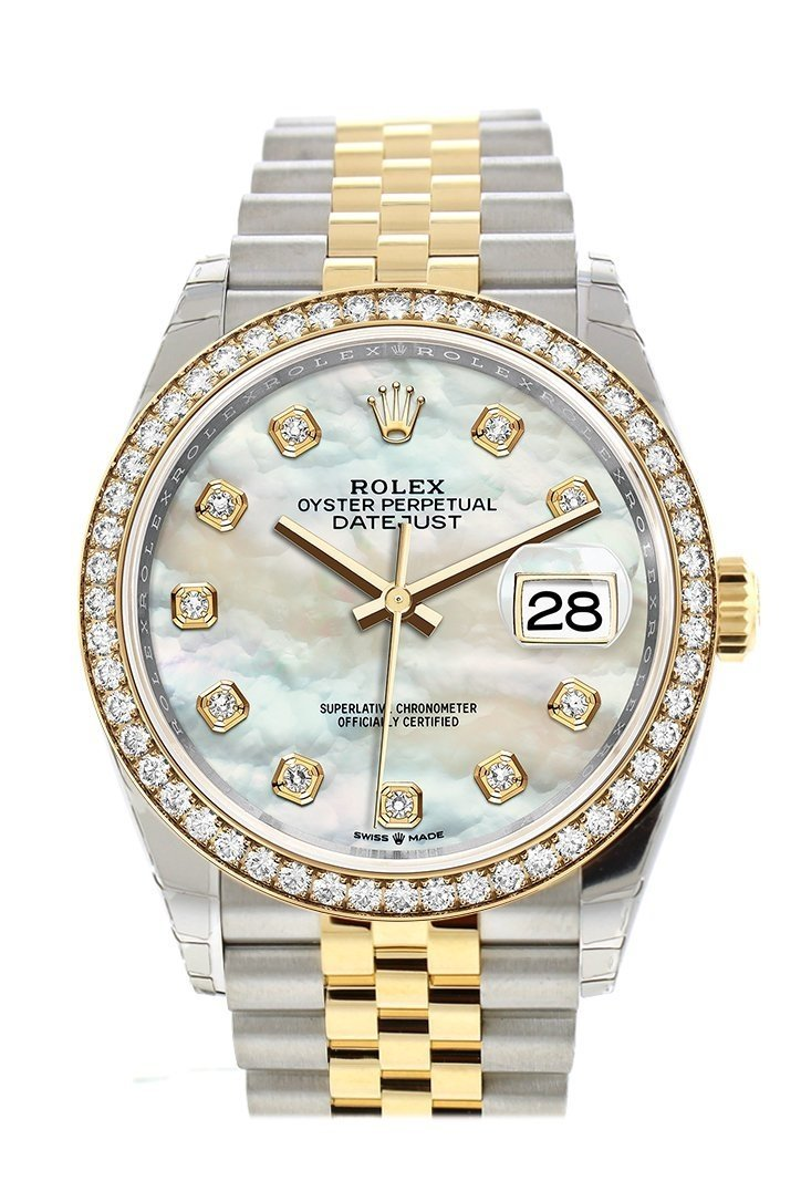 Rolex Datejust 36 White Mother-Of-Pearl Diamonds Dial Diamond Bezel Jubilee Yellow Gold Two Tone