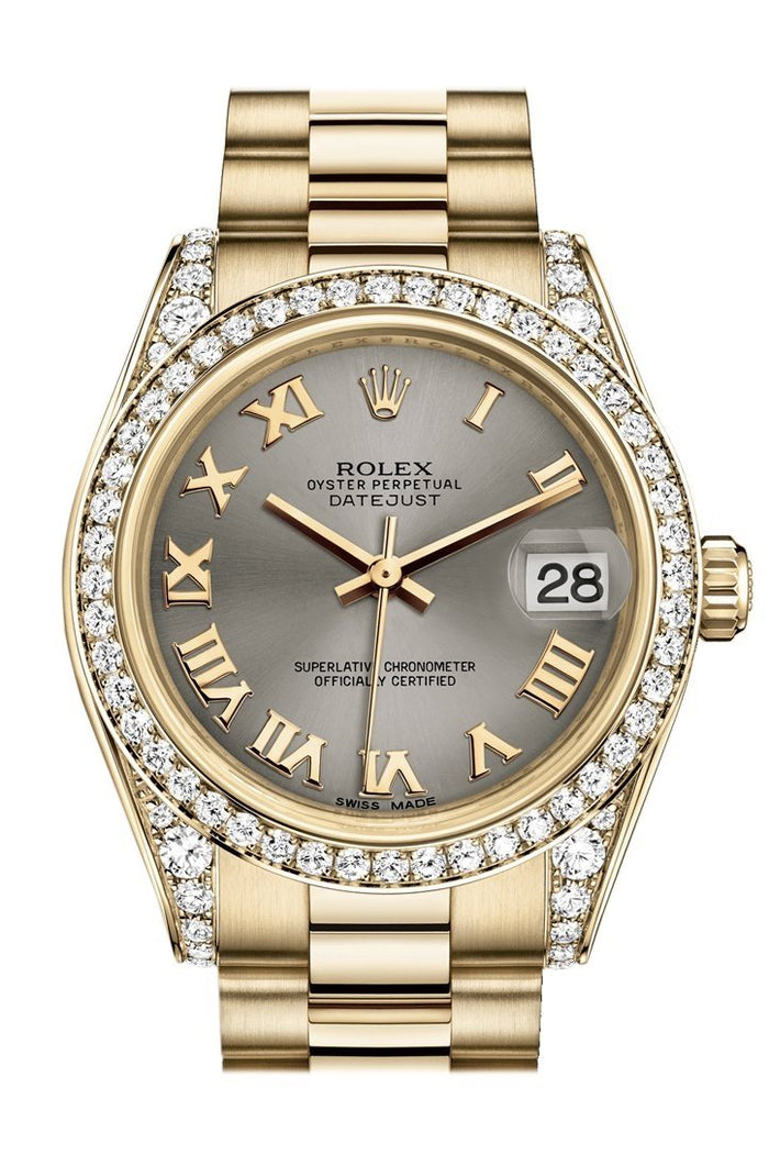 Rolex Datejust 31 Steel Roman Dial Diamond Bezel Lug 18K Yellow Gold President Ladies Watch 178158