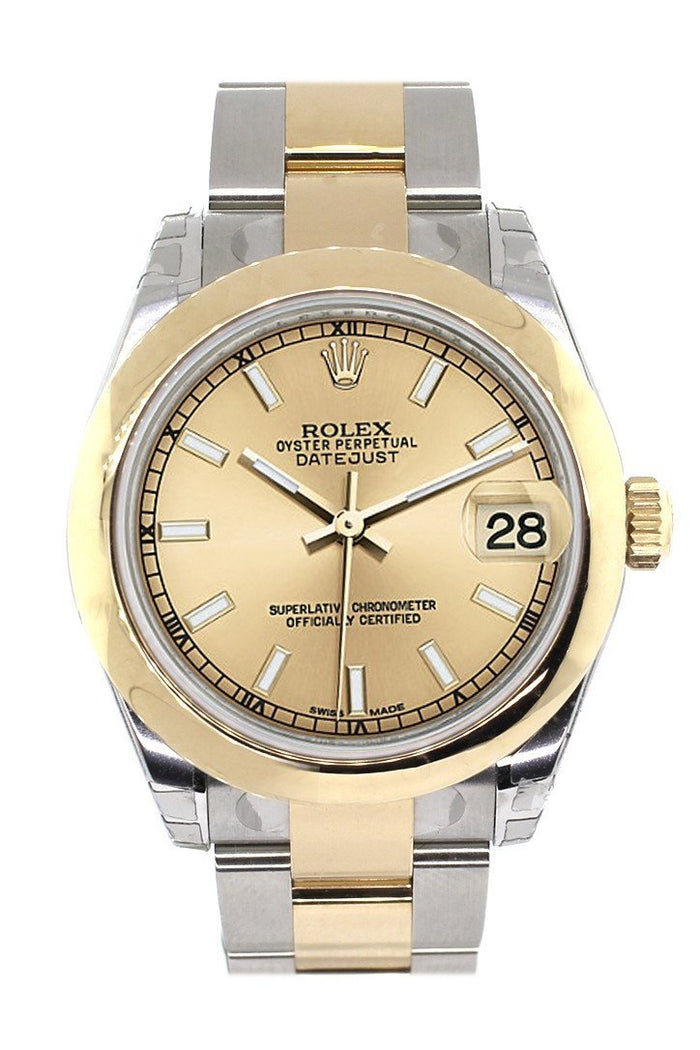 Rolex Datejust 31 Champagne Dial 18K Gold Two Tone Ladies Watch 178243
