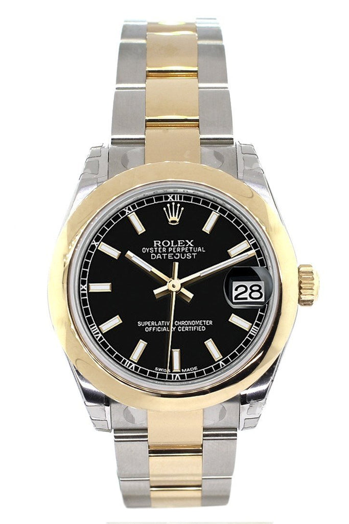 Rolex Datejust 31 Black Dial 18K Gold Two Tone Ladies 178243 Watch