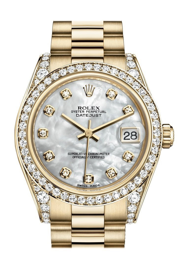 Rolex Datejust 31 White Mother of Pearl Dia Dial Diamond Bezel Lug 18K Yellow Gold President Ladies Watch 178158