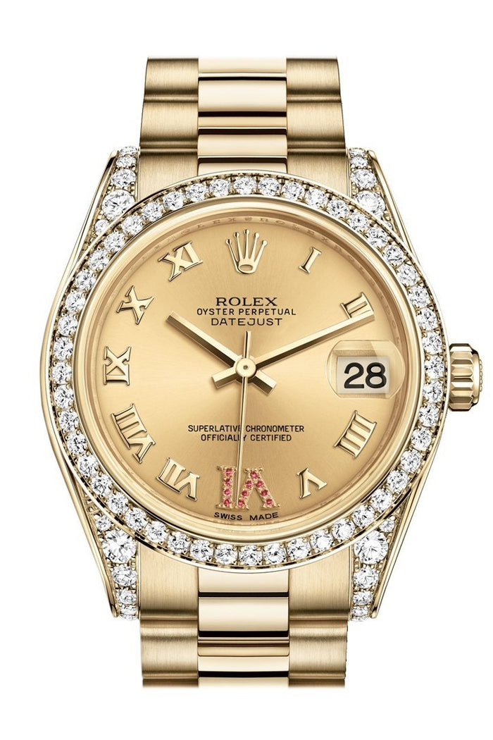 Rolex Datejust 31 Champagne Large VI Rubies Dial Diamond Bezel Lug 18K Yellow Gold President Ladies Watch 178158