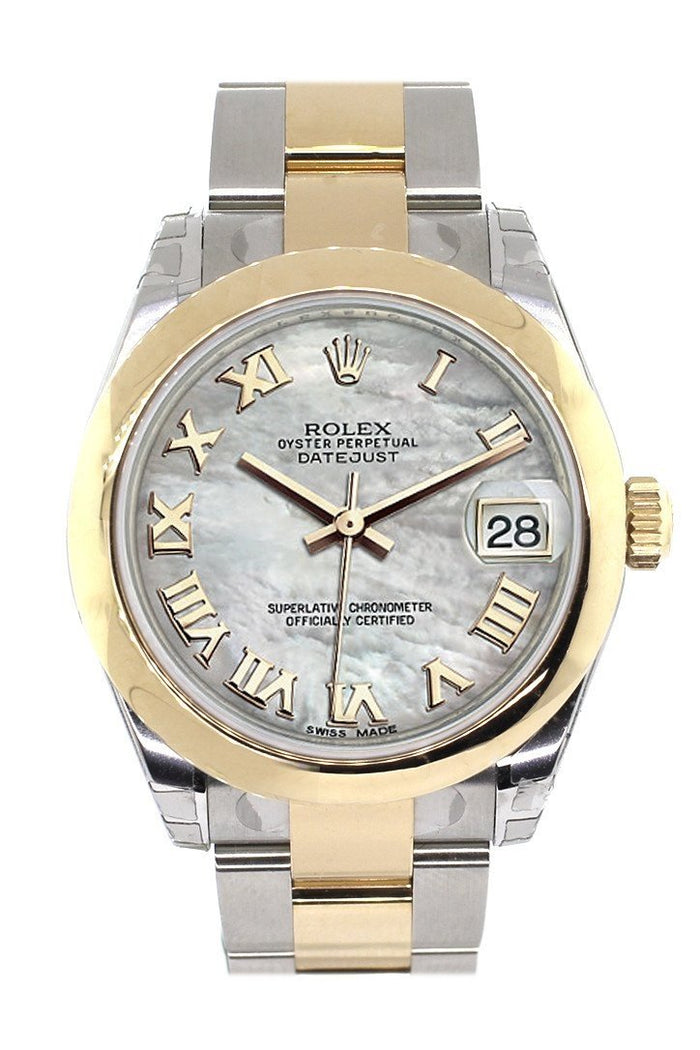 Rolex Datejust 31 Mother of Pearl Roman Dial 18K Gold Two Tone Ladies 178243