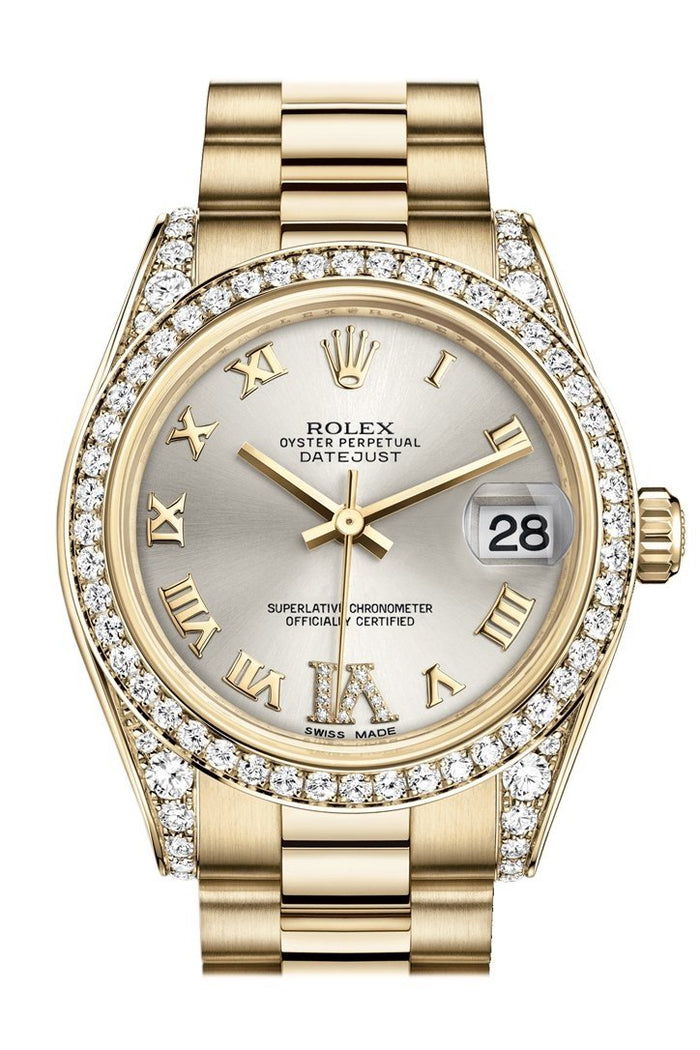 Rolex Datejust 31 Silver Large VI Rubies Dial Diamond Bezel Lug 18K Yellow Gold President Ladies Watch 178158