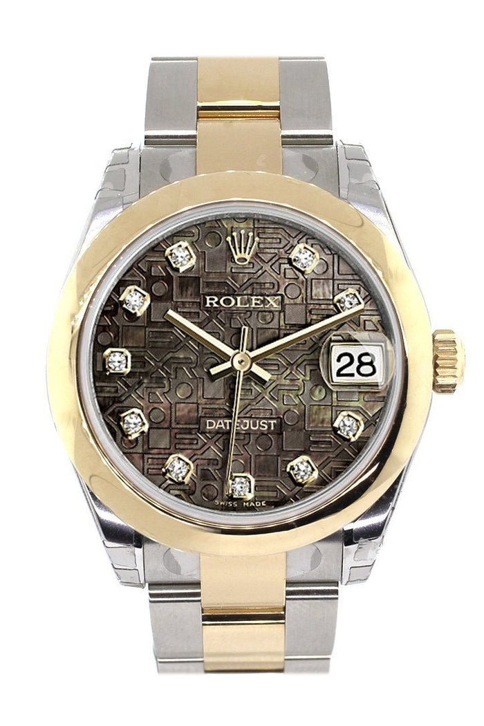 Rolex Datejust 31 Black Mother of Pearl Jubilee Diamonds Dial 18K Gold Two Tone Ladies 178243
