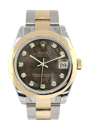 Rolex Datejust 31 Black Mother Of Pearl Diamonds Dial 18K Gold Two Tone Ladies 178243 / None Watch