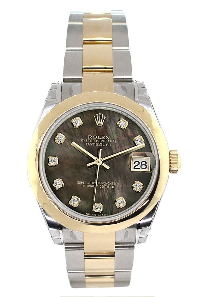 Rolex Datejust 31 Black Mother Of Pearl Diamonds Dial 18K Gold Two Tone Ladies 178243 Watch