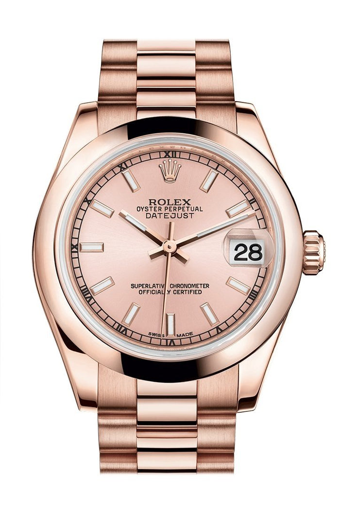 Rolex Datejust 31 Pink Dial 18K Everose Gold President Ladies Watch 178245