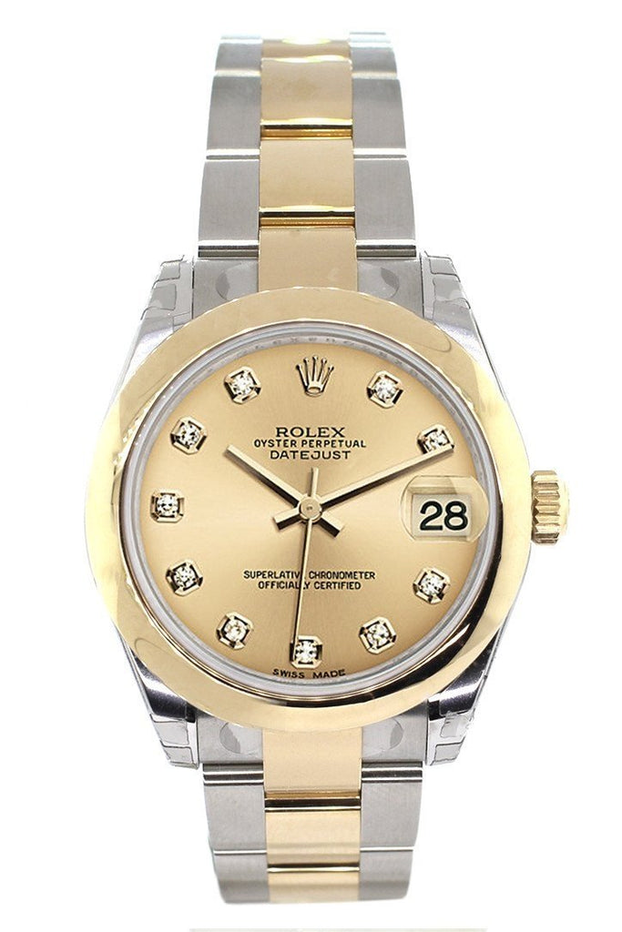 Rolex Datejust 31 Champagne Diamond Dial 18K Gold Two Tone Ladies 178243 Watch