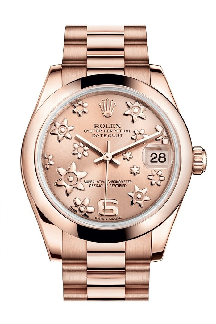 Rolex Datejust 31 Pink Raised Floral Motif Dial 18K Everose Gold President Ladies Watch 178245