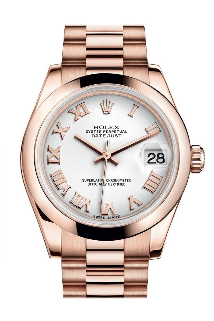 Rolex Datejust 31 White Roman Dial 18K Everose Gold President Ladies Watch 178245
