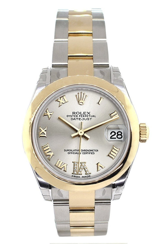 Rolex Datejust 31 Silver Roman Large VI Diamond Dial 18K Gold Two Tone Ladies 178243
