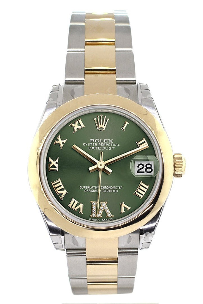 Rolex Datejust 31 Olive Green Roman Large VI Diamond Dial18K Gold Two Tone Ladies 178243