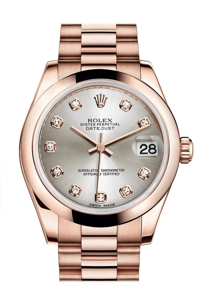 Rolex Datejust 31 Silver Diamond Dial 18K Everose Gold President Ladies Watch 178245