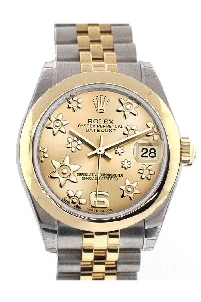 Rolex Datejust 31 Champagne Floral Motif Dial  18K Gold Two Tone Jubilee Ladies 178243