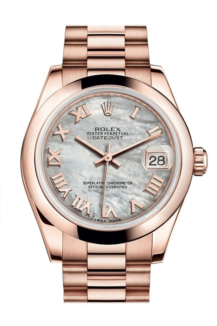 Rolex Datejust 31 White Mother of Pearl Roman Dial 18K Everose Gold President Ladies Watch 178245