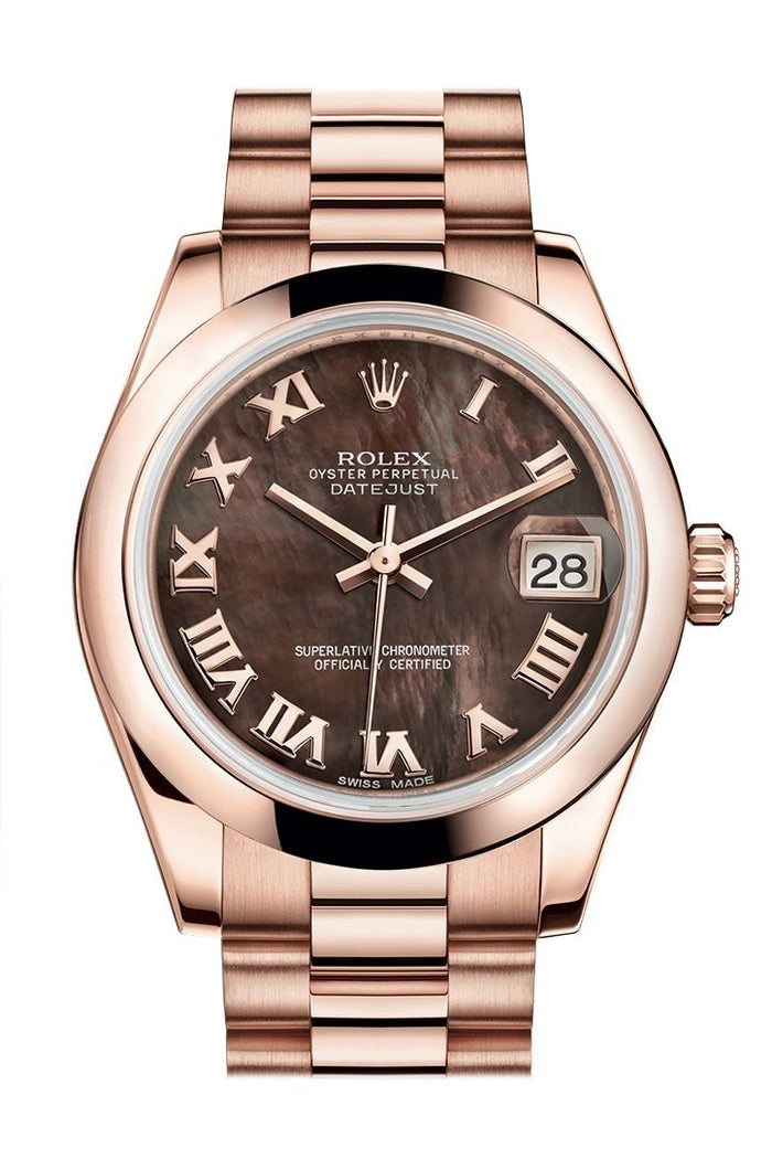 Rolex Datejust 31 Black Mother of Pearl Roman Dial 18K Everose Gold President Ladies Watch 178245