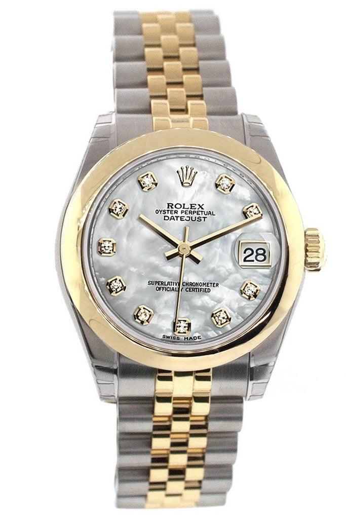 Rolex Datejust 31 Mother of Pearl Diamond Dial 18K Gold Two Tone Jubilee Ladies 178243