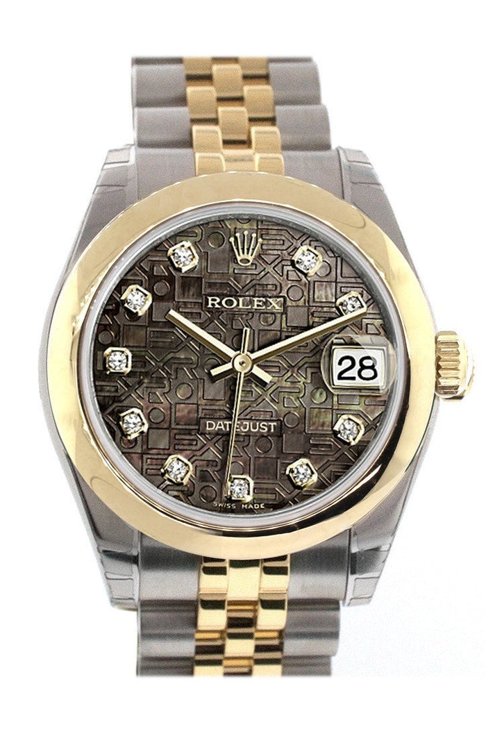 Rolex Datejust 31 Black Mother of Pearl Jubilee Diamonds Dial 18K Gold Two Tone Jubilee Ladies 178243