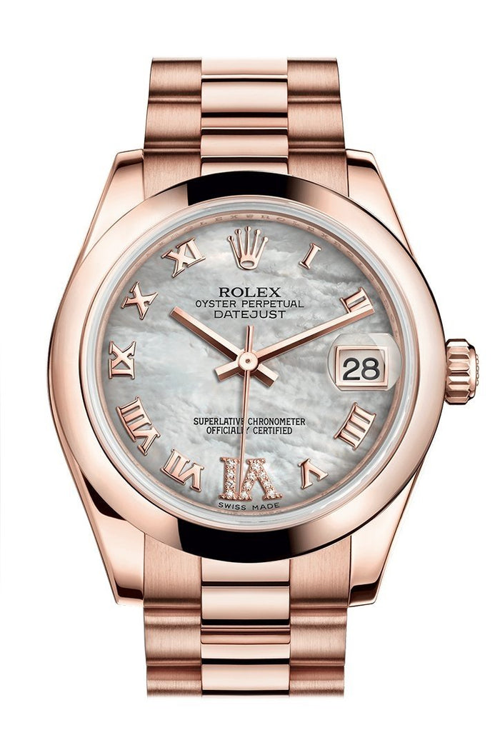 Rolex Datejust 31 White Mother of Pearl Roman Large VI Diamond Dial 18K Everose Gold President Ladies Watch 178245