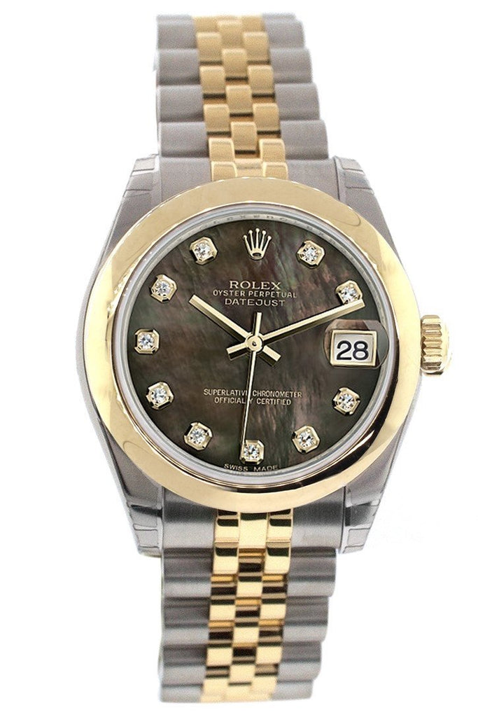 Rolex Datejust 31 Black Mother of Pearl Diamonds Dial 18K Gold Two Tone Jubilee Ladies 178243