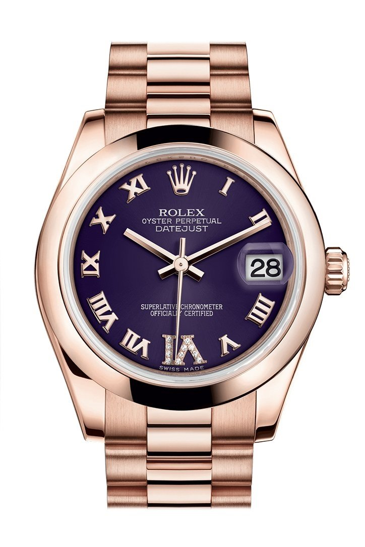 Rolex Datejust 31 Purple Large Vi Set With Diamond Dial 18K Everose Gold President Ladies Watch