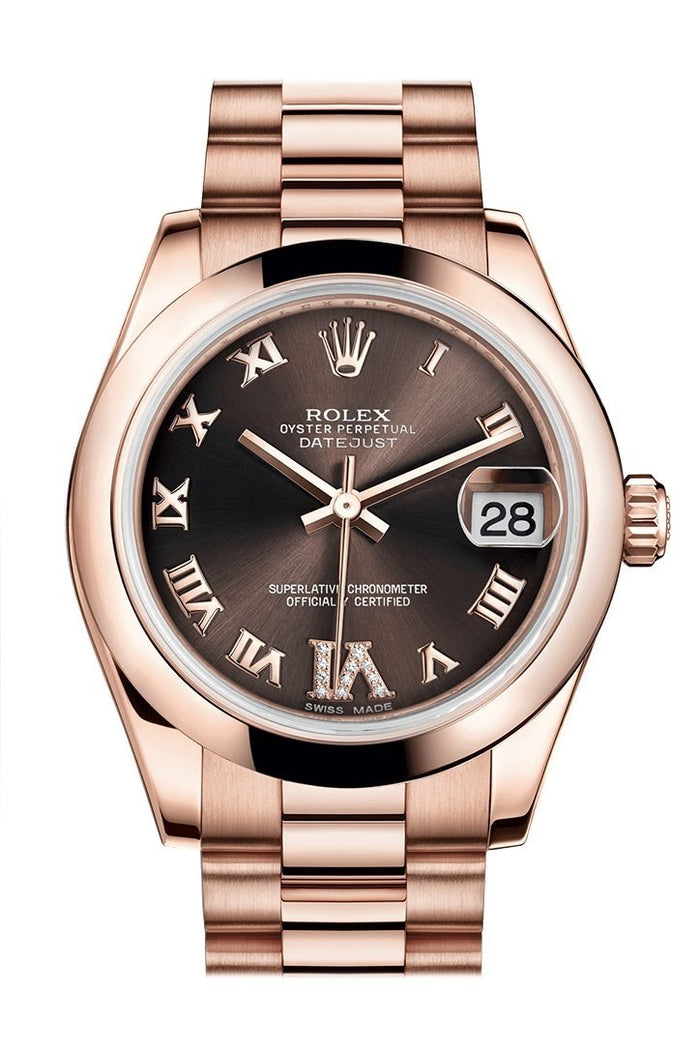 Rolex Datejust 31 Chocolate Large VI set with Diamond Dial 18K Everose Gold President Ladies Watch 178245