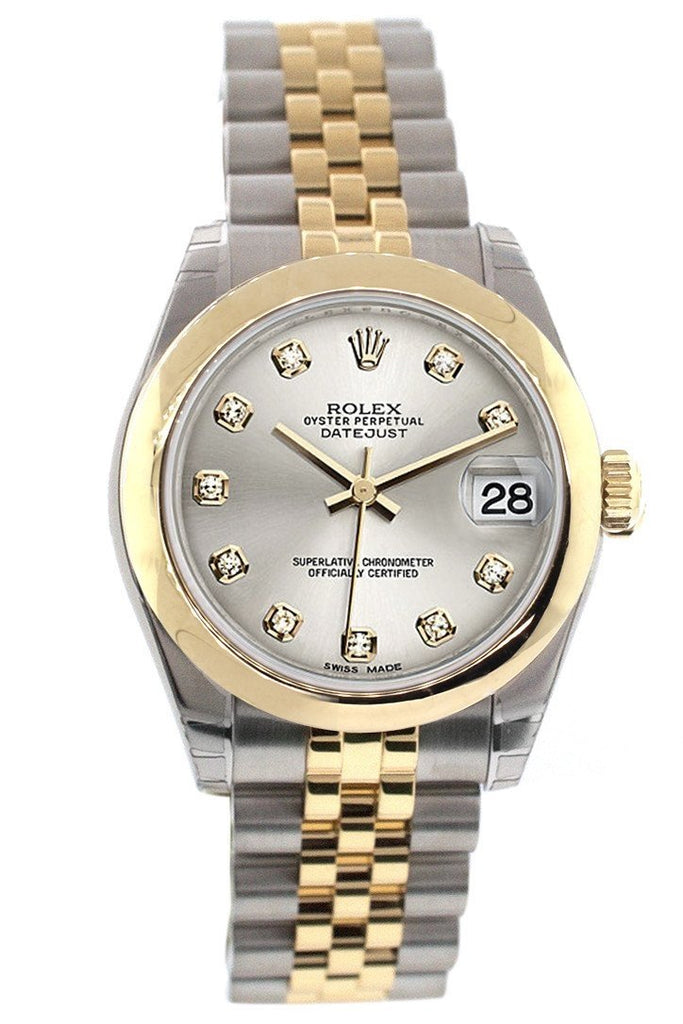 Rolex Datejust 31 Silver Diamond Dial 18K Gold Two Tone Jubilee Ladies 178243