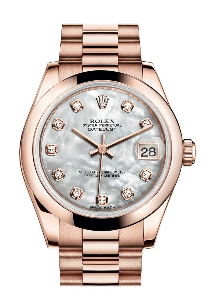Rolex Datejust 31 White Mother of Pearl Diamond Dial 18K Everose Gold President Ladies Watch 178245
