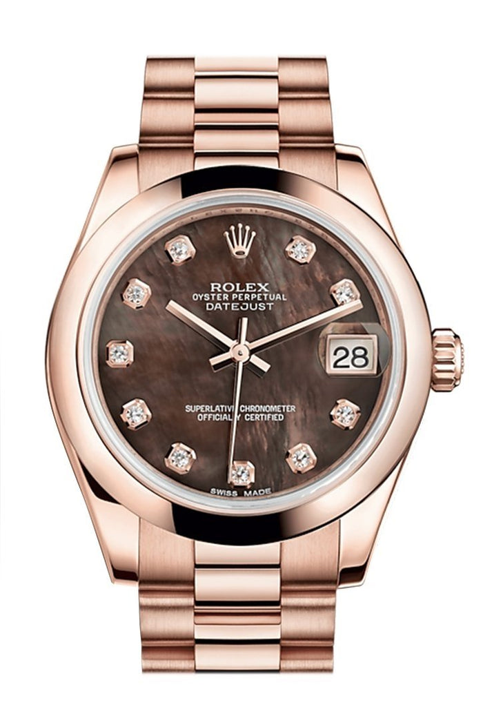 Rolex Datejust 31 Black Mother of Pearl Diamond Dial 18K Everose Gold President Ladies Watch 178245
