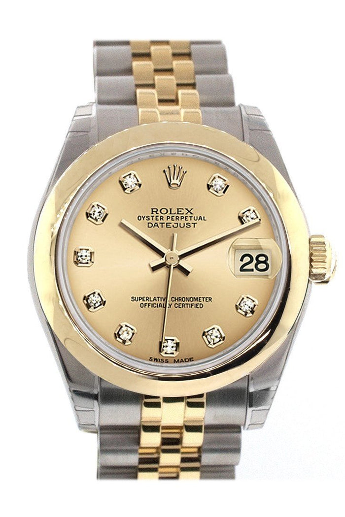 Rolex Datejust 31 Champagne Diamond Dial 18K Gold Two Tone Jubilee Ladies 178243