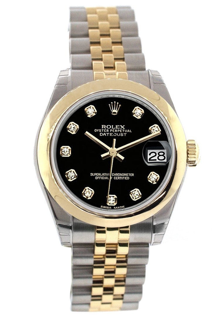 Rolex Datejust 31 Black Diamond Dial 18K Gold Two Tone Jubilee Ladies 178243