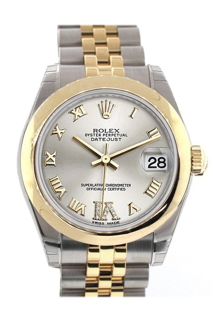 Rolex Datejust 31 Silver Roman Large VI Diamond Dial 18K Gold Two Tone Jubilee Ladies 178243