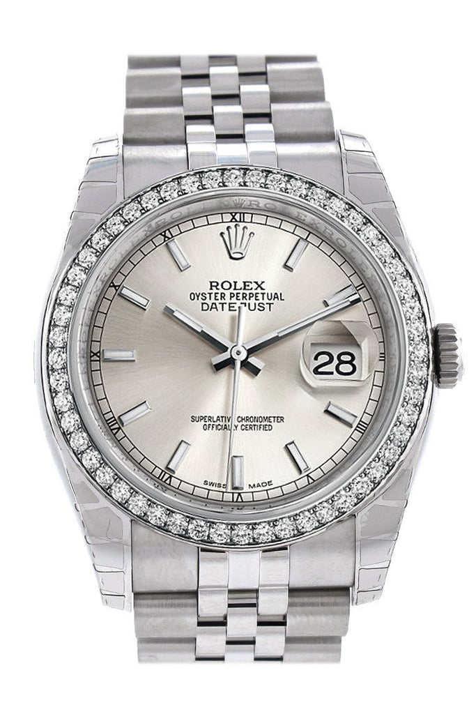 Rolex Datejust 36 Silver Dial 18K White Gold Diamond Bezel Jubilee Mens Watch 116244 / None