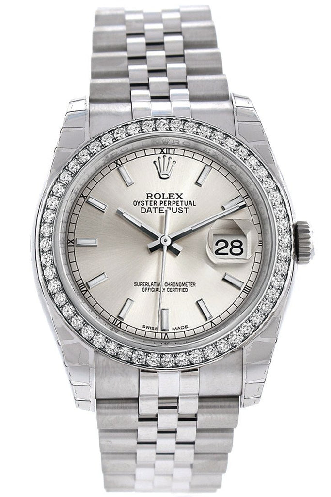 Rolex Datejust 36 Silver Dial 18K White Gold Diamond Bezel Jubilee Mens Watch 116244