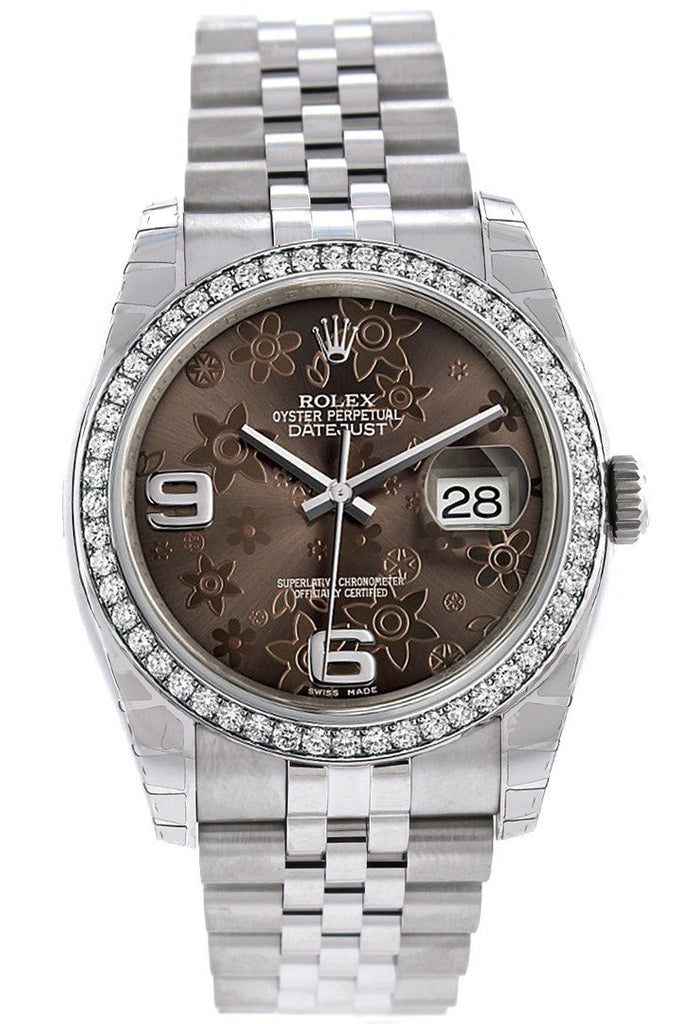 Rolex Datejust 36 Bronze Floral Motif Dial 18k White Gold Diamond Bezel Jubilee Men's Watch 116244