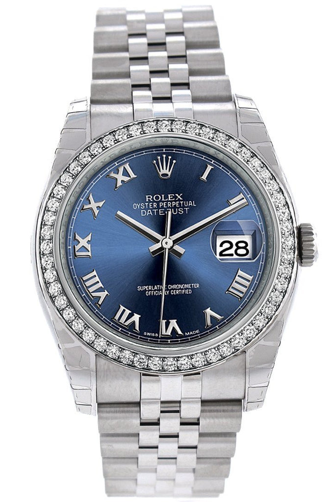 Rolex Datejust 36 Blue Roman Dial 18K White Gold Diamond Bezel Jubilee Mens Watch 116244