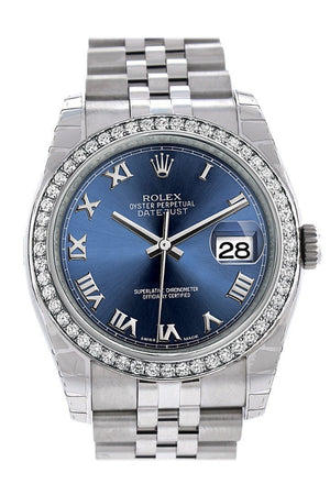 Rolex Datejust 36 Blue Roman Dial 18K White Gold Diamond Bezel Jubilee Mens Watch 116244 / None