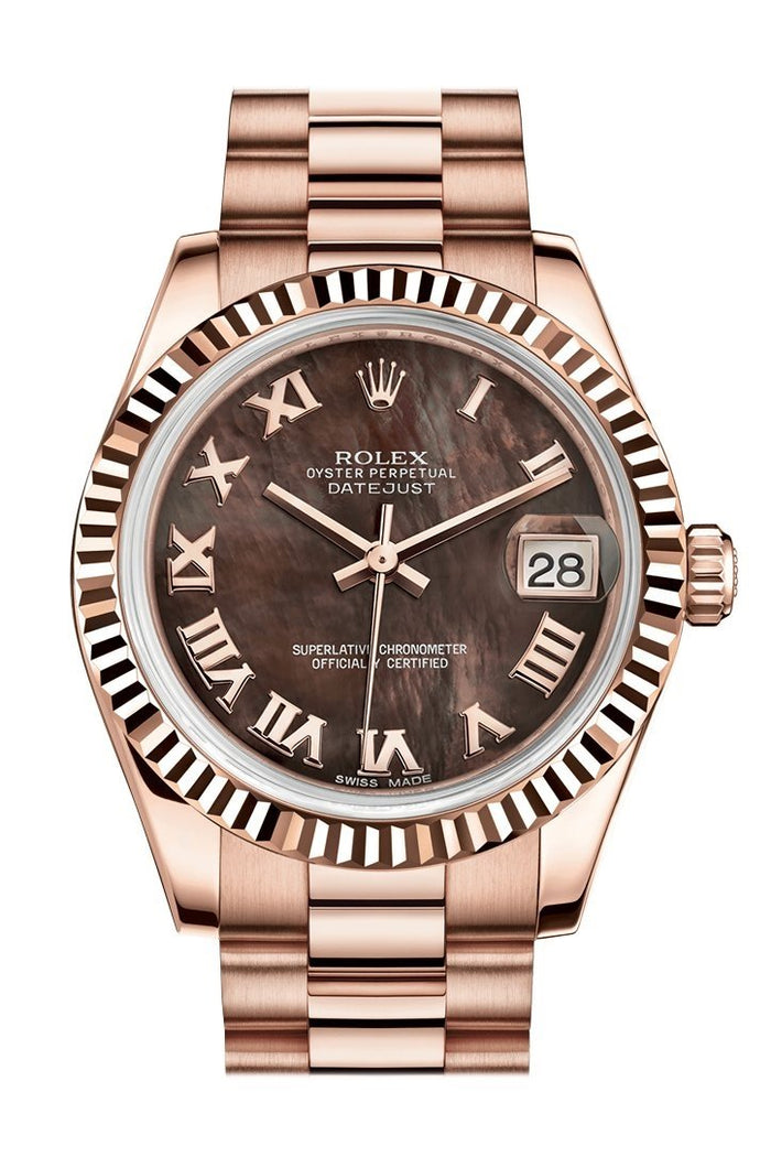 Rolex Datejust 31 Black Mother of Pearl Roman Dial Fluted Bezel 18K Everose Gold President Ladies Watch 178275