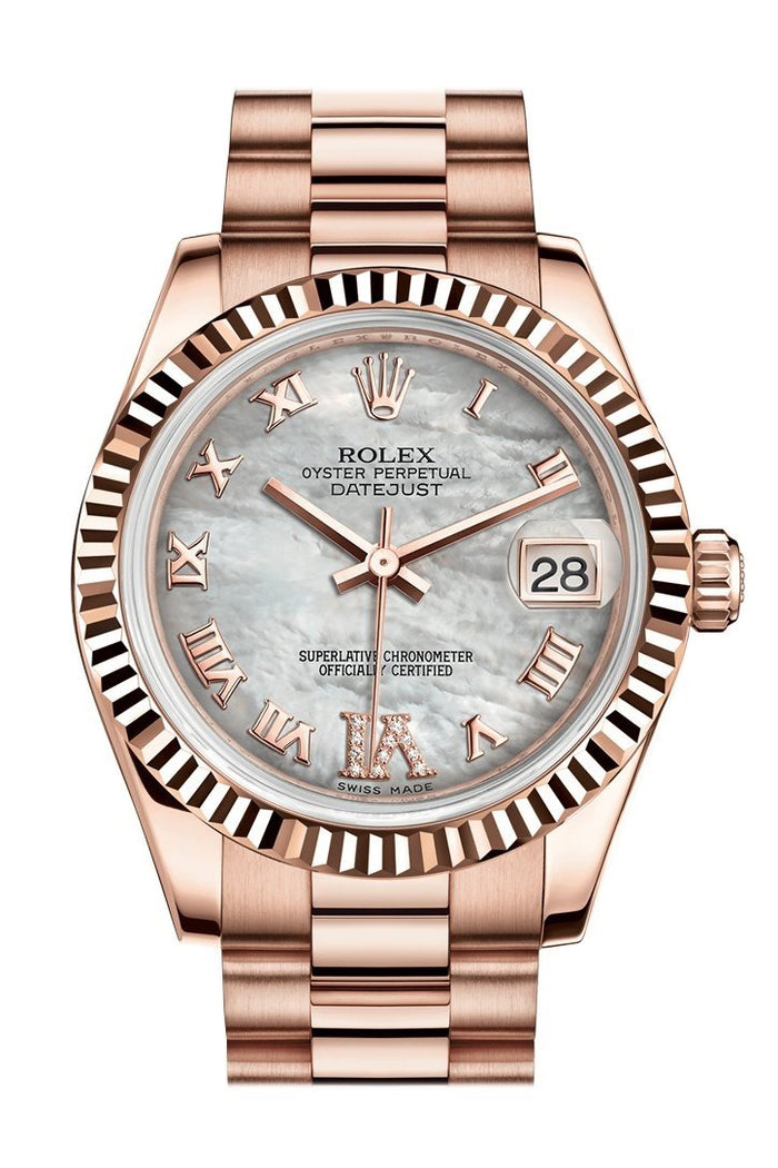 Rolex Datejust 31 White Mother of Pearl Roman Large VI Diamond Dial Fluted Bezel 18K Everose Gold President Ladies Watch 178275