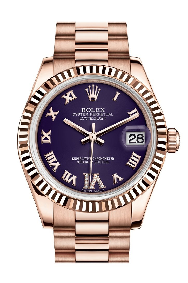 Rolex Datejust 31 Purple Large Vi Set With Diamond Dial Fluted Bezel 18K Everose Gold President