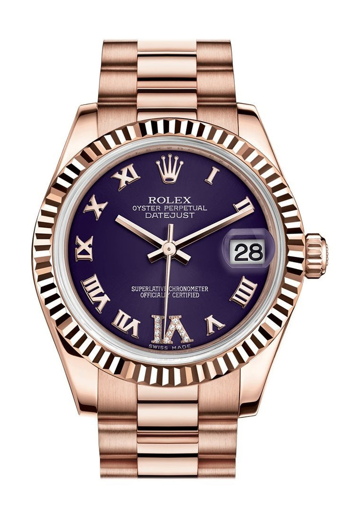 Rolex Datejust 31 Purple Large VI set with Diamond Dial Fluted Bezel 18K Everose Gold President Ladies Watch 178275