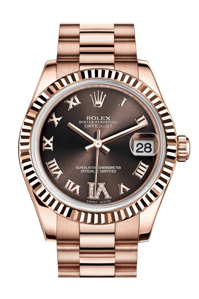Rolex Datejust 31 Chocolate Large VI set with Diamond Dial Fluted Bezel 18K Everose Gold President Ladies Watch 178275