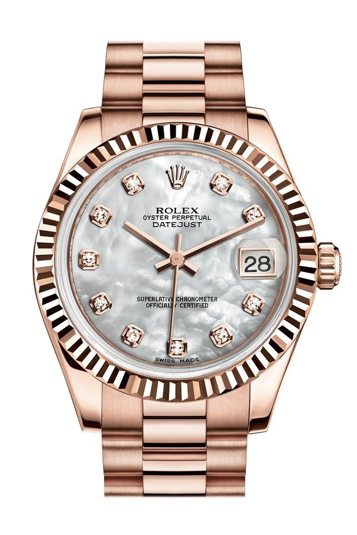 Rolex Datejust 31 Mother of Pearl Diamond Dial Fluted Bezel 18K Everose Gold President Ladies Watch 178275