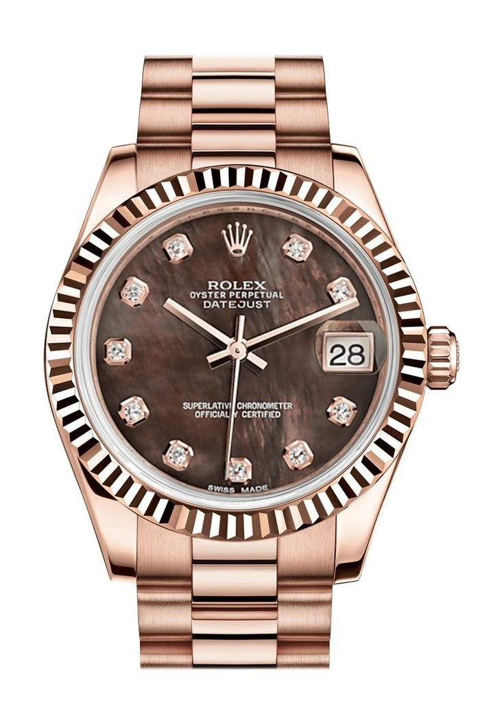 Rolex Datejust 31 Black Mother of Pearl Diamond Dial Fluted Bezel 18K Everose Gold President Ladies Watch 178275