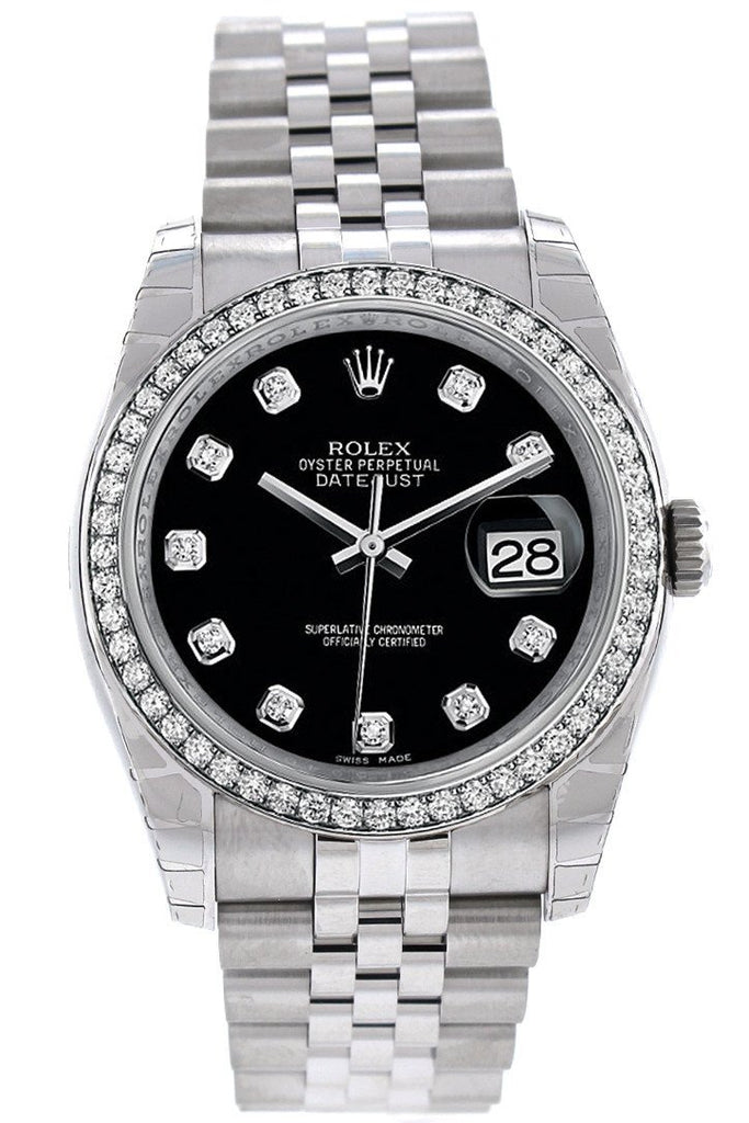 Rolex Datejust 36 Black set with Diamonds Dial 18k White Gold Diamond Bezel Jubilee Men's Watch 116244