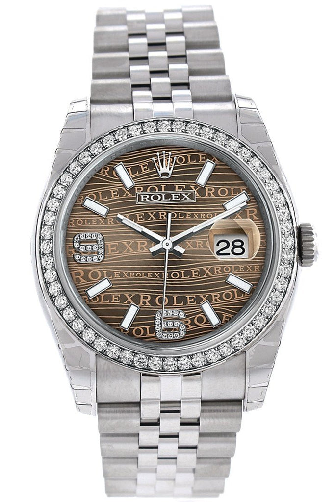 Rolex Datejust 36 Bronze Waves Set With Diamonds Dial 18K White Gold Diamond Bezel Jubilee Mens