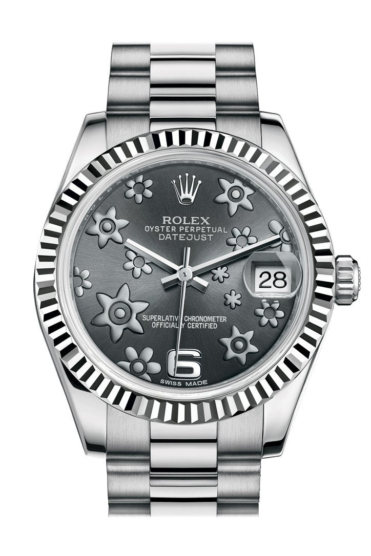 Rolex Datejust 31 Dark Rhodium Raised Floral Motif Dial Fluted Bezel 18K White Gold President Ladies