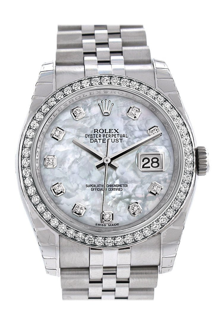 Rolex Datejust 36 Mother Of Pearl Dial Diamond Bezel Jubilee Ladies Watch 116244 / None
