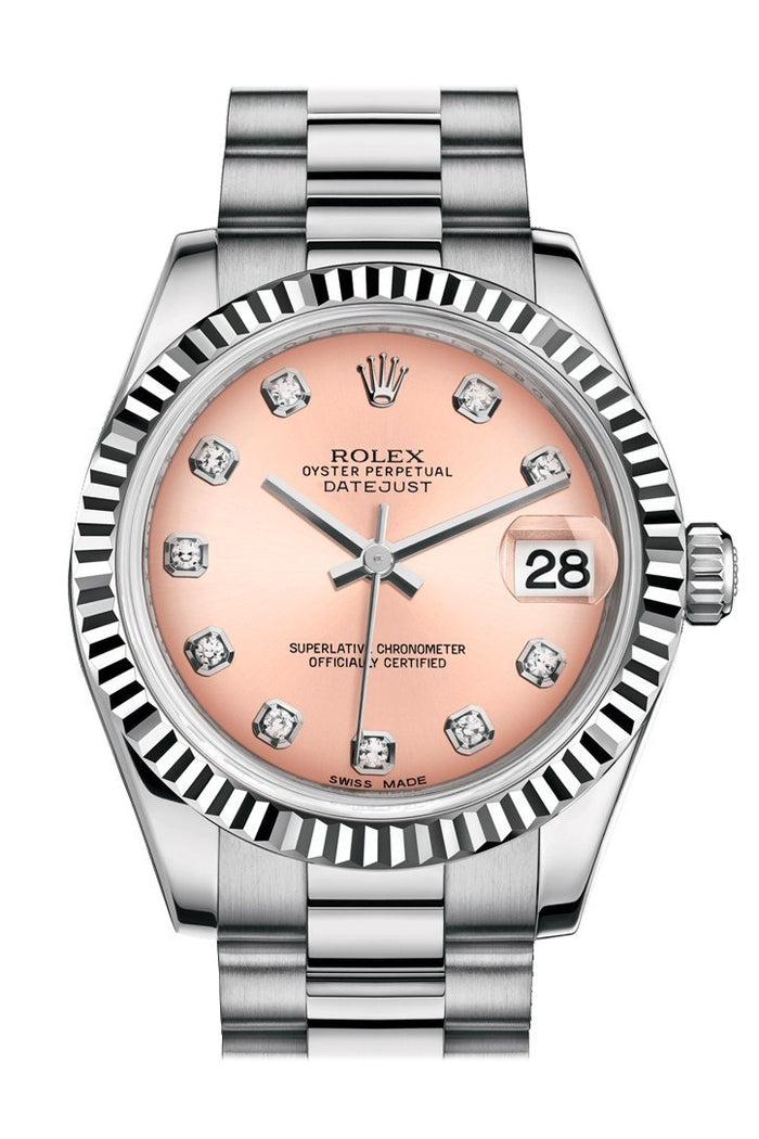 Rolex Datejust 31 Pink Diamond Dial Fluted Bezel 18K White Gold President Ladies Watch 178279